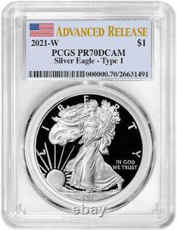 2021-W Type 1 American Silver Eagle Advanced Release PCGS PR70DCAM