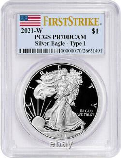 2021-W Type 1 American Silver Eagle First Strike PCGS PR70DCAM