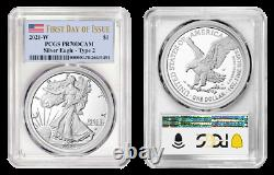 2021 W Type 2 American Silver Eagle PCGS PR70 Deep Cameo First Day of Issue FDOI