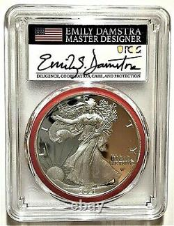2021-s Advanced Release Proof Silver Eagle-pcgs Pr70-type 2-emily Damstra