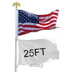 25 ft Flag Pole Telescopic Aluminum Flagpole Kit Ball Eagle Top 3x5' U. S Flag