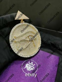 2.48 Ct Round Simulated Diamond Men's Customized Round Disk Eye Pendant Silver