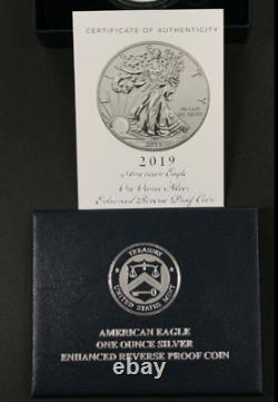 American Eagle 2019 S ENHANCED REVERSE 19XE Proof PR PF Silver with OGP NGC PF70