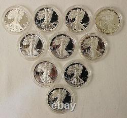 American Silver Eagle 34 Coin Proof Set 1986-2020 Gov Boxes & COA's
