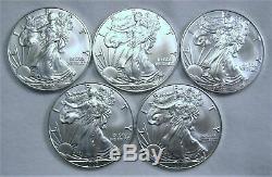 BU 2020 Lot of 5 American Silver Eagle 1 Troy Oz. 999 Fine Silver 1/4 Roll