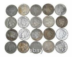 Bulk Lot CULL (20) 1922-1925 Peace Silver $1 Dollar 90% Eagle Collection Roll