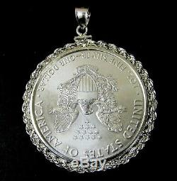 Coin Pendant 2019 American. 999 Silver Eagle in Sterling Silver 3mm Rope Bezel