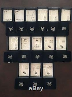 Lot 14 American Eagle Proof One Ounce Silver Dollars with Boxes And COA's US MINT