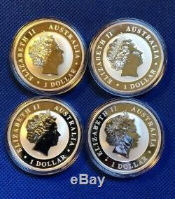 Lot Of 4 Australia Wedge Tail Silver Eagles BU Coins In Capsules2014,15,16,17