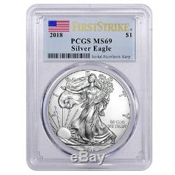 Lot of 10 2018 1 oz Silver American Eagle $1 Coin PCGS MS 69 FS (Flag Label)