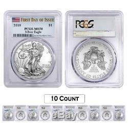 Lot of 10 2018 1 oz Silver American Eagle $1 Coin PCGS MS 70 FDOI