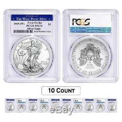 Lot of 10 2019 (W) 1 oz Silver American Eagle $1 PCGS MS 70 FS (West Point)