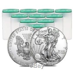 Lot of 200 2018 1 oz Silver American Eagle $1 Coin BU (10 Roll, Tube of 20)