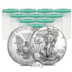 Lot of 200 2020 1 oz Silver American Eagle $1 Coin BU (10 Roll, Tube of 20)