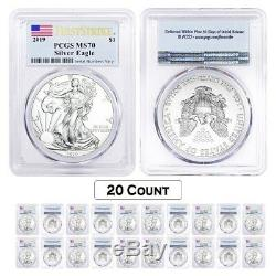 Lot of 20 2019 1 oz Silver American Eagle $1 Coin PCGS MS 70 FS (Flag Label)