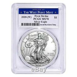 Lot of 20 2020 (W) 1 oz Silver American Eagle $1 Coin PCGS MS 70 FS West Point