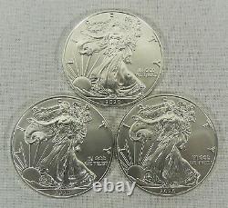 Lot of 3 2020 1 oz. American Silver Eagle $1 Coins GEM BU