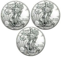 Lot of 3- 2021 American Eagle Coins 1 oz. 999 Fine Silver IN STOCK