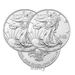 Lot of 3 Silver 2020 American Eagle 1 oz. Coins. 999 fine silver US Eagles 1oz