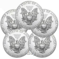 Lot of 5 2016 American Eagle Coins 1 oz. 999 Fine Silver