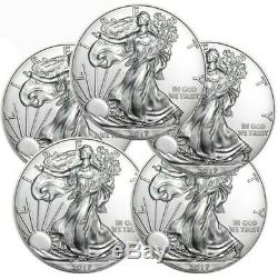 Lot of 5 2017 1 oz. 999 American Silver Eagle GEM BU $1 Coins