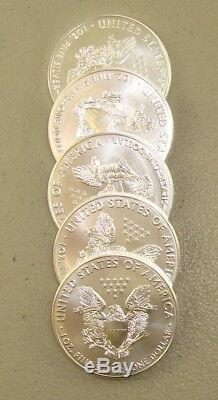 Lot of (5) 2019 1 oz. 999 Fine American Silver Eagle Bullion Coins