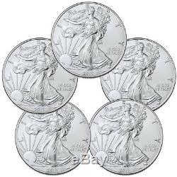 Lot of 5 2019 1 oz American Silver Eagle $1 Gem BU Coins SKU56933