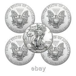 Lot of 5 2021 1 oz American Eagle. 999 Fine Silver BU Coin BRAND NEW