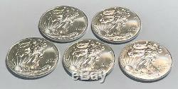 Lot of 5 Silver 2018 American Silver Eagles, 1 oz Coins. 999 Fine Silver