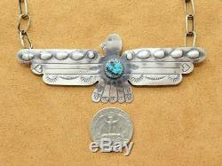 Native American Stamp Sterling Silver Turquoise Thunderbird Eagle Chain Necklace