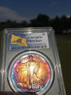 PCGS MS70 1986 American Silver Eagle Monster Toning