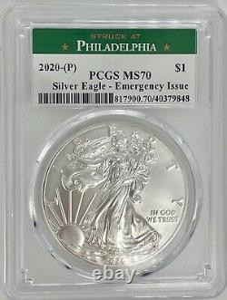 PCGS MS70 RARE 2020 P Philadelphia Emergency Issue American Silver Eagle