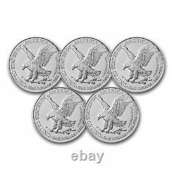 Pre-Sale 2021 1 oz American Silver Eagle BU (Type 2) Lot of 5 Coins