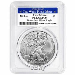Presale 2020-W Burnished $1 American Silver Eagle PCGS SP70 FS West Point Labe