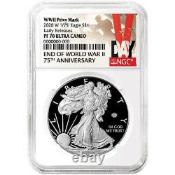Presale 2020-W Proof $1 American Silver Eagle World War II 75th NGC PF70UC ER