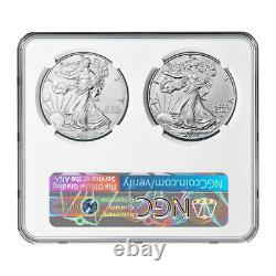 Presale 2021 $1 Type 1 and Type 2 Silver Eagle Set NGC MS69 T1 T2 Label