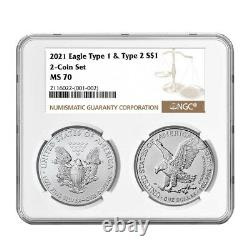 Presale 2021 $1 Type 1 and Type 2 Silver Eagle Set NGC MS70 Brown Label