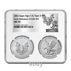 Presale 2021 $1 Type 1 and Type 2 Silver Eagle Set NGC MS70 ER T1 T2 Label