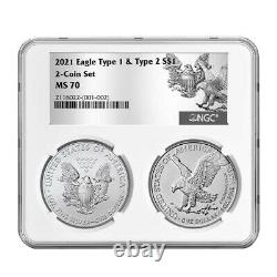 Presale 2021 $1 Type 1 and Type 2 Silver Eagle Set NGC MS70 T1 T2 Label