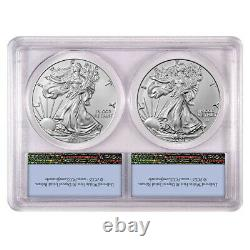 Presale 2021 $1 Type 1 and Type 2 Silver Eagle Set PCGS MS70 FS Flag Label