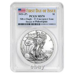 Presale 2021 (P) $1 American Silver Eagle PCGS MS70 Emergency Issue FDOI Flag