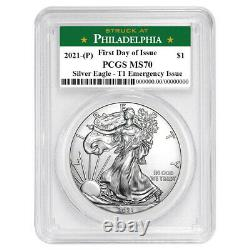 Presale 2021 (P) $1 American Silver Eagle PCGS MS70 Emergency Issue FDOI Phila