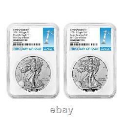 Presale 2021 Reverse Proof American Silver Eagle Designer 2pc Set NGC PF70 FDI
