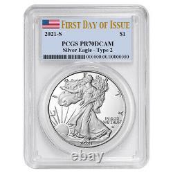 Presale 2021-S Proof $1 Type 2 American Silver Eagle PCGS PR70DCAM FDOI Flag L