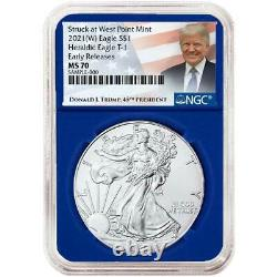 Presale 2021 (W) $1 American Silver Eagle 3pc. Set NGC MS70 Trump ER Label Red