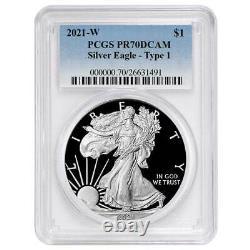 Presale 2021-W Proof $1 American Silver Eagle PCGS PR70DCAM Blue Label