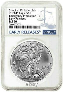 Presale 2021 (p) $1 American Silver Eagle Ngcms70 Emergency Early Releases