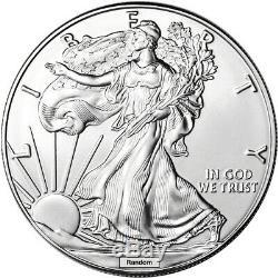 Random Date American Silver Eagle 1 oz $1 500 BU Coins in Box