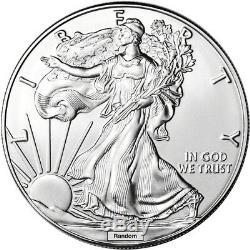 Random Date American Silver Eagle 1 oz $1 5 Rolls 100 BU Coins in 5 Mint Tubes