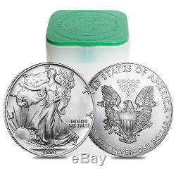 Roll of 20 1990 1 oz Silver American Eagle $1 Coin BU (Lot, Tube of 20)